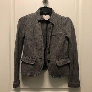 Loft Gray Soft Cotton Shrunken Blazer Jacket XXSP